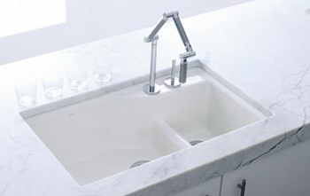 Kohler K-6411-1-7 Undercover Double Single-Hole Cast Iron Kitchen Sink from the Indio Series - Black (Pictured in White)