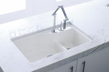 Kohler K-6411-1-0 Undercover Double Single-Hole Cast Iron Kitchen Sink from the Indio Series - White