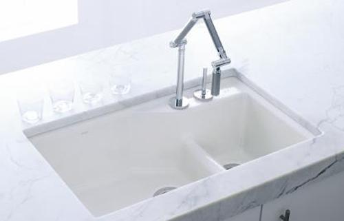 Kohler K 6411 2 7 Undercover Double Offset Cast Iron Kitchen Sink From