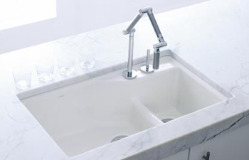 Kohler K-6411-2-7 Undercover Double Offset Cast Iron Kitchen Sink from the Indio Series - Black (Pictured in White)