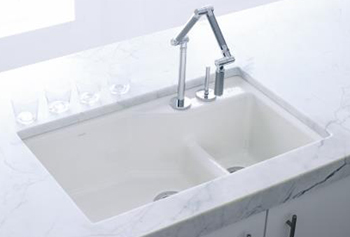 Kohler K-6411-2K-95 Indio+ Undercounter Double Offset Basin Kitchen Sink with Two-Hole Faucet Drilling for Karbon Faucet - Ice Grey (Pictured in White)