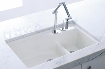 Kohler K-6411-2K-33 Indio+ Undercounter Double Offset Basin Kitchen Sink with Two-Hole Faucet Drilling for Karbon Faucet - Mexican Sand (Pictured in White)