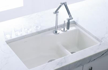 Kohler K-6411-2K-R1 Indio+ Undercounter Double Offset Basin Kitchen Sink with Two-Hole Faucet Drilling for Karbon Faucet - Roussillon Red (Pictured in White)
