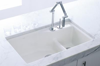 Kohler K-6411-2K-G9 Indio+ Undercounter Double Offset Basin Kitchen Sink with Two-Hole Faucet Drilling for Karbon Faucet - Sandbar (Pictured in White)
