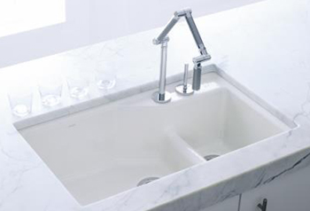 Kohler K-6411-2K-58 Indio+ Undercounter Double Offset Basin Kitchen Sink with Two-Hole Faucet Drilling for Karbon Faucet - Thunder Grey (Pictured in White)