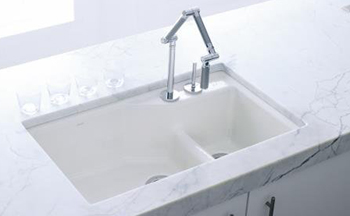 kohler k 6411 2 0 undercover double offset cast iron kitchen sink from the indio series white. Black Bedroom Furniture Sets. Home Design Ideas