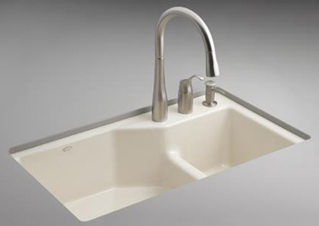 Biscuit Colored Kitchen Sink Single Hole