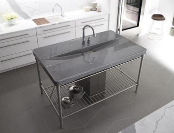 Kohler K-6417-2-95 Iron/Occasions Island Integrated Top and Basin with Two Hole Faucet Drilling - Ice Grey (Pictured in Cashmere)