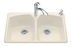 Kohler K-6491-3-47 Tanager Self-Rimming Kitchen Sink- 3 Hole Faucet Drilling - Almond