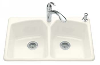 Kohler K-6491-3-96 Tanager Self-Rimming Kitchen Sink- 3 Hole Faucet Drilling - Biscuit