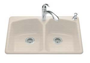 Kohler K-6491-3-FD Tanager Self-Rimming Kitchen Sink- 3 Hole Faucet Drilling - Cane Sugar