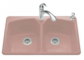 Kohler K-6491-3-FE Tanager Self-Rimming Kitchen Sink- 3 Hole Faucet Drilling - Frost (Pictured in Wild Rose)