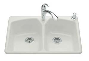 Kohler K-6491-3-FF Tanager Self-Rimming Kitchen Sink- 3 Hole Faucet Drilling - Sea Salt