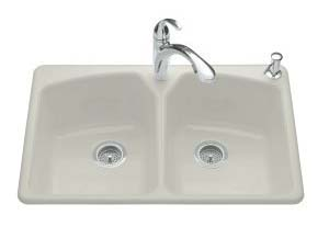 Kohler K-6491-3-95 Tanager Self-Rimming Kitchen Sink- 3 Hole Faucet Drilling - Ice Grey
