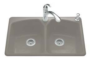 Kohler K-6491-3-K4 Tanager Self-Rimming Kitchen Sink- 3 Hole Faucet Drilling - Cashmere