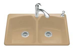Kohler K-6491-3-33 Tanager Self-Rimming Kitchen Sink- 3 Hole Faucet Drilling - Mexican Sand