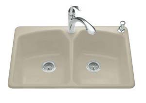 Kohler K-6491-3-G9 Tanager Self-Rimming Kitchen Sink- 3 Hole Faucet Drilling - Sandbar