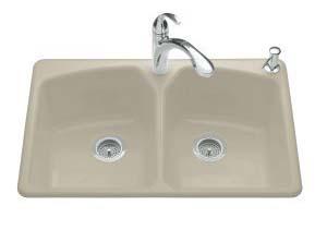 Kohler K-6491-3-G9 Tanager Self-Rimming Kitchen Sink- 3 Hole Faucet Drilling - Sandbar
