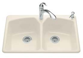 Kohler K-6491-3-58 Tanager Self-Rimming Kitchen Sink- 3 Hole Faucet Drilling - Thunder Grey (Pictured in Almond)