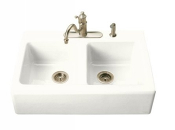 Kohler K-6534-3-0 Hawthorne Apron-Front Tile-In Kitchen Sink with Three-Hole Faucet Drilling - White (Faucet and Accessories Not Included)