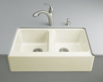 Kohler K-6534-4U-96 Hawthorne Undercounter Apron-Front Kitchen Sinks - Biscuit (Faucet and Accessories Not Included)