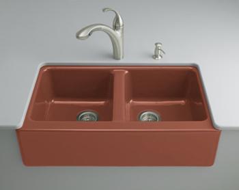 Kohler K-6534-4U-R1 Hawthorne Undercounter Apron-Front Kitchen Sinks - Roussillon Red