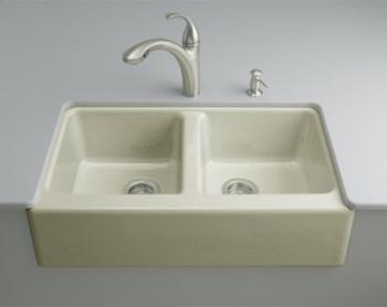 Kohler K-6534-4U-G9 Hawthorne Undercounter Apron-Front Kitchen Sinks - Sandbar (Faucet and Accessories Not Included)