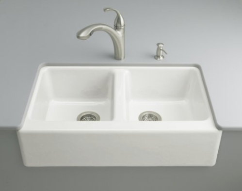 Kohler K-6534-4U-0 Hawthorne Undercounter Apron-Front Kitchen Sinks - White (Faucet and Accessories Not Included)