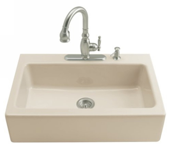 Kohler K-6546-4-47 Dickinson Tile-In Apron-Front Kitchen Sink- 4 Hole Faucet Drilling - Almond (Faucet and Accessories Not Included)