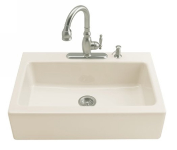 Kohler K-6546-4-96 Dickinson Tile-In Apron-Front Kitchen Sink- 4 Hole Faucet Drilling - Biscuit (Faucet and Accessories Not Included)