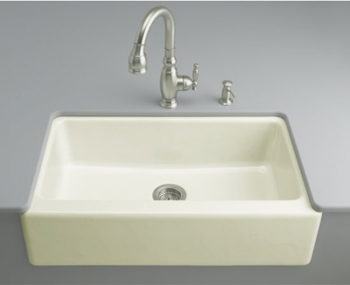 Kohler K-6546-4U-96 Dickinson Undercounter Apron-Front Kitchen Sink - Biscuit (Faucet Not Included)