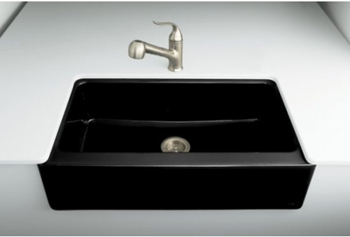 Kohler K-6546-4U-7 Dickinson Undercounter Apron-Front Kitchen Sink - Black (Faucet and Accessories Not Included)