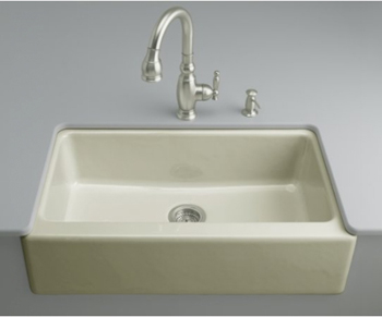 Kohler K-6546-4U-G9 Dickinson Undercounter Apron-Front Kitchen Sink - Sandbar (Faucet and Accessories Not Included)