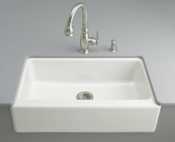 Kohler K-6546-4U-0 Dickinson Undercounter Apron-Front Kitchen Sink - White (Faucet and Accessories Not Included)