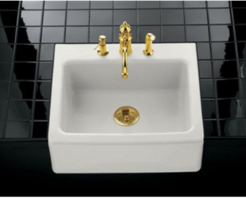 Kohler K-6573-3-0 Alcott Apron-Front Tile-In Kitchen Sink- 3 Hole Faucet Drilling - White (Faucet Not Included)