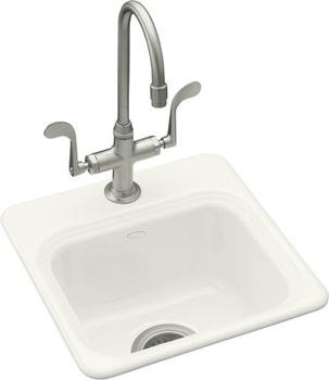 Kohler K-6579-3-0 Northland Self-Rimming Entertainment Sink With 3-Hole Faucet Drilling - White