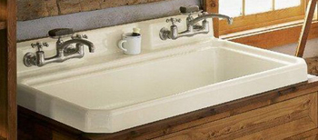 Kohler K-6607-3-0 Harborview Self-Rimming Or Wall-Mount Utility Sink With Three-Hole Faucet Drilling On Center Deck of Sink - White