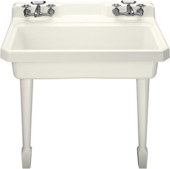 Kohler K-6607-4-0 Harborview Self-Rimming Or Wall-Mount Utility Sink With Four-Hole Faucet Drilling, Two Holes On Both Sides Of Sink - White (Pictured in Biscuit)