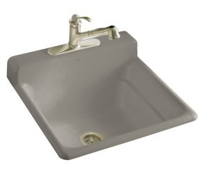Kohler K-6608-1-K4 Bayview Self-Rimming Utility Sink With Single-Hole Faucet Drilling On Top Of Backsplash - Cashmere