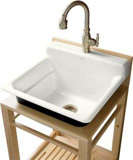 Kohler K-6608-1P-0 Bayview Wood Stand Utility Sink with Single-Hole Faucet Drilling On Top Of Backsplash - White
