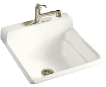 Kohler K-6608-1-0 Bayview Self-Rimming Utility Sink With Single-Hole Faucet Drilling On Top Of Backsplash - White