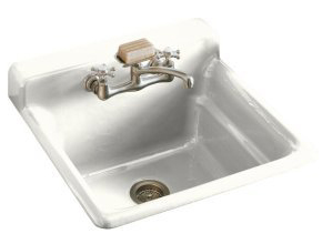 Kohler K-6608-2-0 Bayview Self-Rimming Utility Sink With Two-Hole Faucet Drilling In Backsplash - White