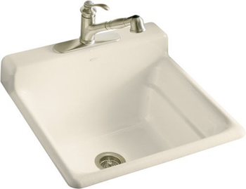 Kohler K-6608-3-47 Bayview Self-Rimming Utility Sink With Three-Hole Faucet Drilling In Backsplash - Almond