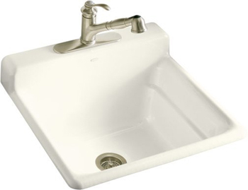 Kohler K-6608-3-96 Bayview Self-Rimming Utility Sink With Three-Hole Faucet Drilling In Backsplash - Biscuit