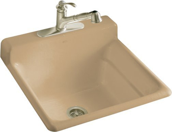 Kohler K-6608-3-33 Bayview Self-Rimming Utility Sink With Three-Hole Faucet Drilling In Backsplash - Mexican Sand