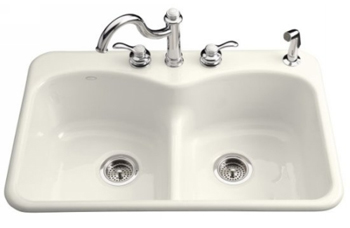 Kohler K-6626-1-0 Langlade Smart Divide Kitchen Sink - White (Faucet and Accessories Not Included)
