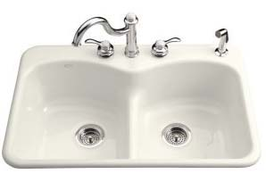 Kohler K-6626-3-96 Langlade Smart Divide Kitchen Sink- 3 Hole Faucet Drilling - Biscuit