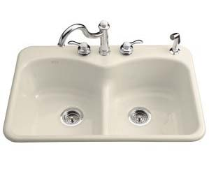Kohler K-6626-4-47 Langlade Smart Divide Kitchen Sink- 4 Faucet Hole Drilling - Almond
