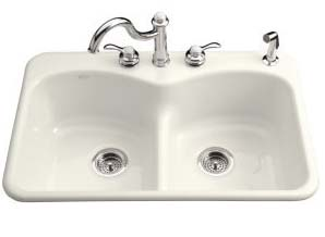 Kohler K-6626-4-96 Langlade Smart Divide Kitchen Sink- 4 Faucet Hole Drilling - Biscuit