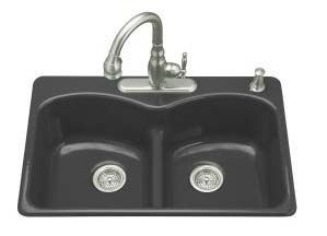 Kohler K-6626-4-7 Langlade Smart Divide Kitchen Sink- 4 Faucet Hole Drilling - Black